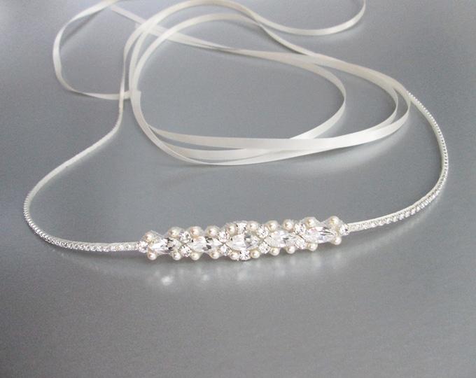 Swarovski bridal belt, Super skinny bridal belt, Dainty crystal sash, Swarovski crystal and pearl belt, Thin belt in gold, silver, rose gold
