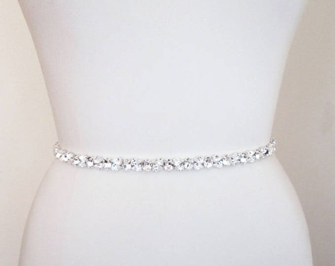 Custom order for Alanna - Swarovski crystal bridal belt sash, Wedding belt skinny thin, Full length Bridal belt sash