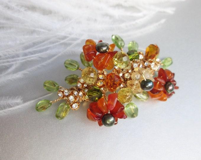 Flowering gems hair barrette, Bridal hair clip, Wedding hair clip barrette, Gemstone and pearl hair clip, Swarovski crystal bridal barrette