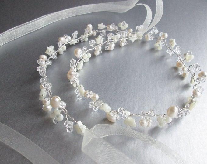 Swarovski crystal hair vine, Crystal Headband, Bridal hair vine, Bridal headband, Pearl and crystal bridal headpiece, Star bridal hair vine