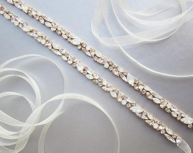 Skinny Opal bridal belt, Swarovski crystal sash, Beaded crystal white opal waist sash full length, Wedding belt in gold, silver, rose gold