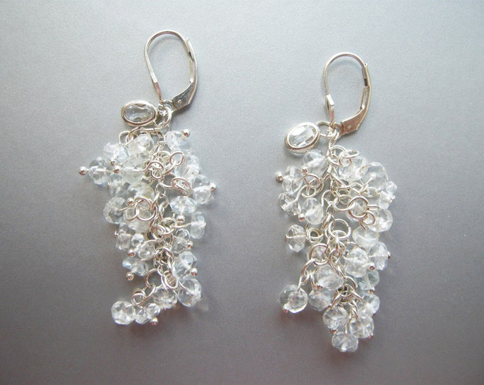 Bridal earrings, Aquamarine and topaz sterling silver dangling earrings, Silver drop earrings, Bridal gemstone earrings