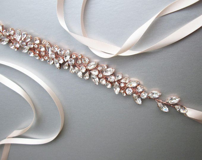 Rose gold Swarovski floating crystal belt, Bridal belt sash, Rose gold crystal sash, Wedding Sash, Swarovski belt sash, Rhinestone belt sash