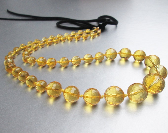 Citrine necklace, Faceted citrine necklace, Genuine citrine graduated beads necklace, Gemstone necklace, Beaded citrine necklace, 14KT gold