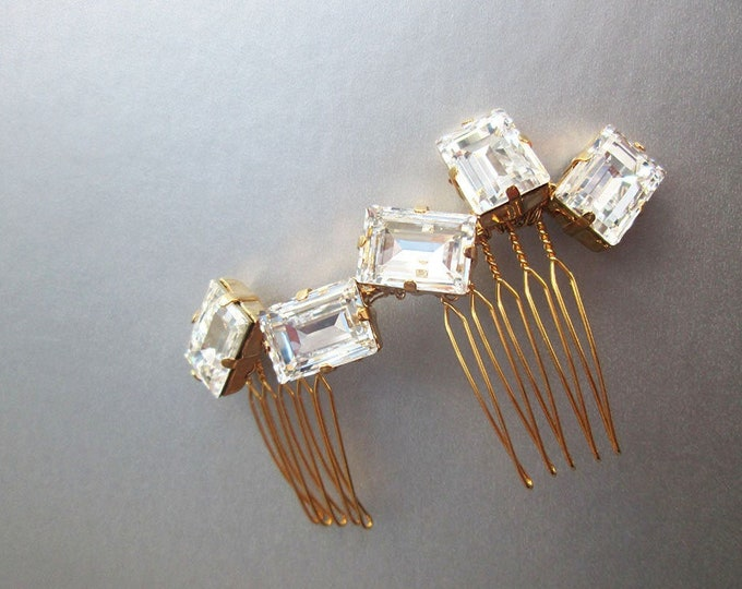 Modern Swarovski crystal bridal hair comb, Wedding hair comb, Swarovski bridal comb, Rhinestone bridal hair vine, Small bridal comb clip