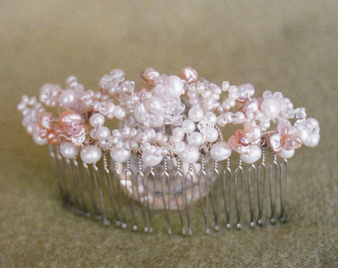 Bridal comb, Pearl and crystal bridal comb, Wedding hair comb, Swarovski crystal and cultured freshwater pearl hair comb, Pink bridal comb,