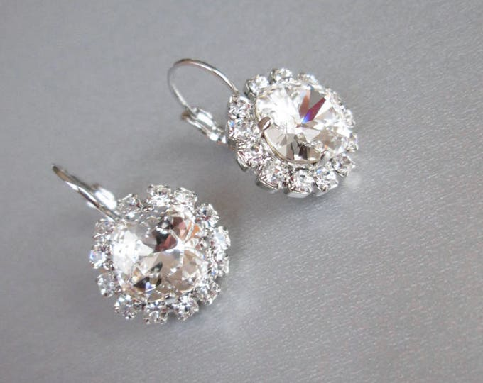 Swarovski crystal bridal earrings, Swarovski earrings, Rhinestone earrings in gold or silver, Bridal crystal earrings, Wedding earrings