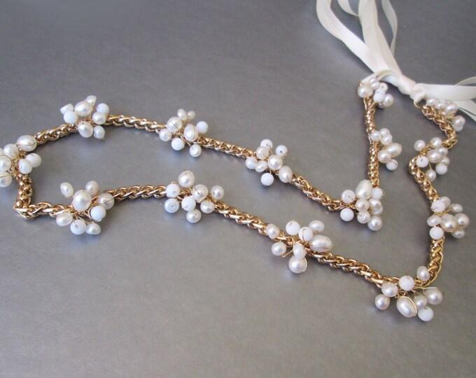 Popcorn skinny belt, Bridal belt sash, Pearl and white jade skinny bridal belt, Wedding belt sash, Skinny bridal gemstone belt