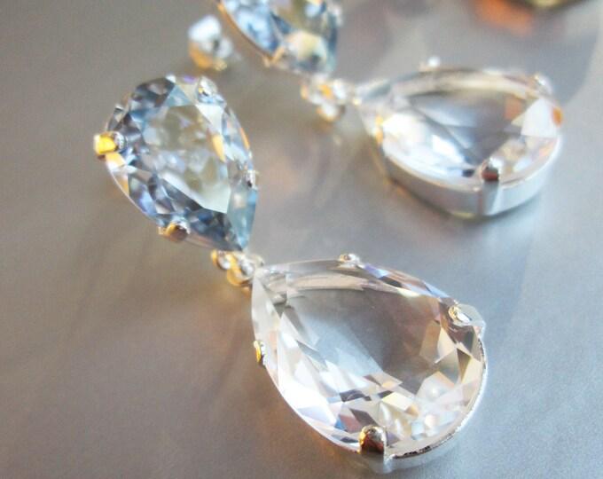 Transparent Drops, Swarovski crystal bridal earrings teardrop cut earrings, Dusty blue pear drop earrings gold silver rose gold, Bridesmaids