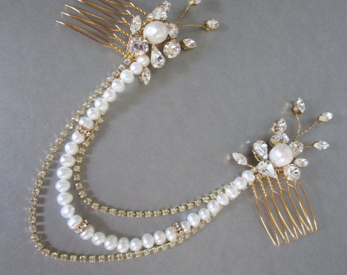 Swag bridal headpiece, Bridal comb, Swarovski crystal and pearl bridal combs with swags, Bridal chain headpiece, Bridal chain hair piece