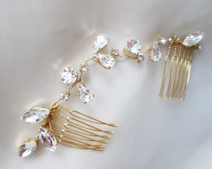 Swarovski crystal hair vine, Bridal crystal hair vine, Dainty crystal hair vine, Sparkly bridal head piece