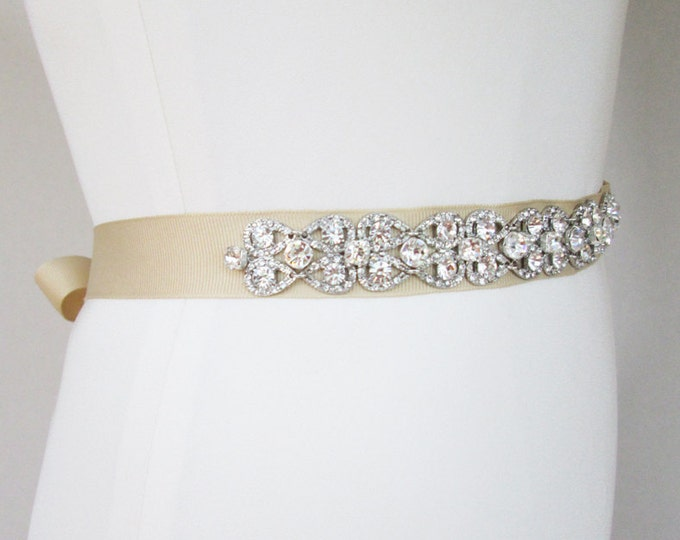 Crystal bridal sash, Wedding belt sash with crystals, Rhinestone bridal sash, Grosgrain ribbon crystal sash belt, More color options