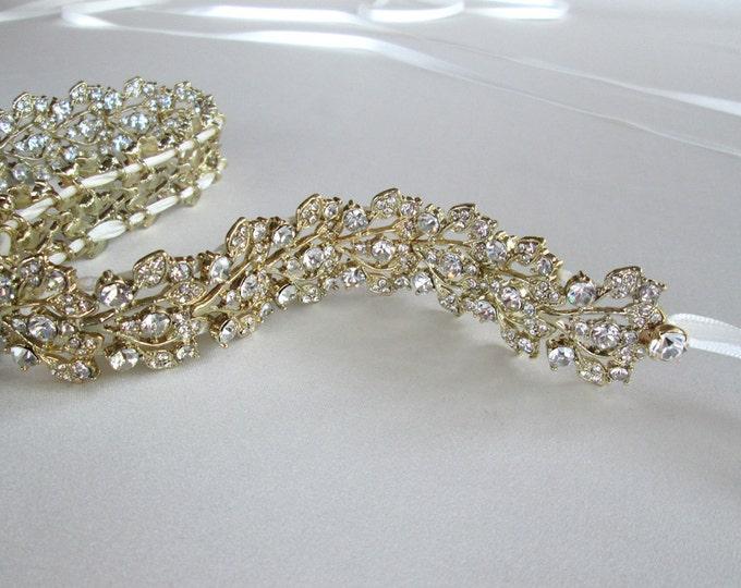 Crystal bridal belt sash, Bridal belt with floating Austrian crystals, Sparkly bridal crystal belt, Gold 1 inch crystal belt