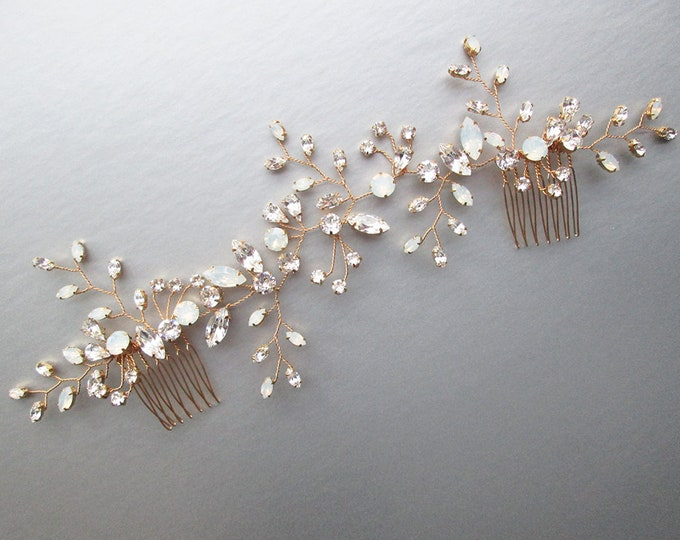Custom order for Latisia -  Bridal hair comb, Wedding hair comb, Swarovski bridal comb, Opal bridal rhinestone headpiece, White opal