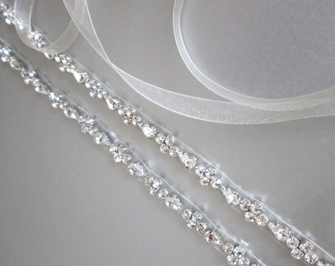 Silver skinny belt, Skinny bridal belt sash, Bridal crystal sash, Crystal wedding belt - full length, Swarovski crystal bridal belt sash