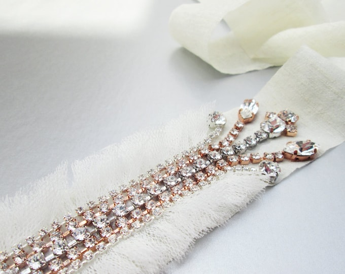 Bridal crystal belt sash, Swarovski bridal belt in rose gold and silver mix, Fringe bridal belt, Rose gold wedding belt, Swarovski belt sash