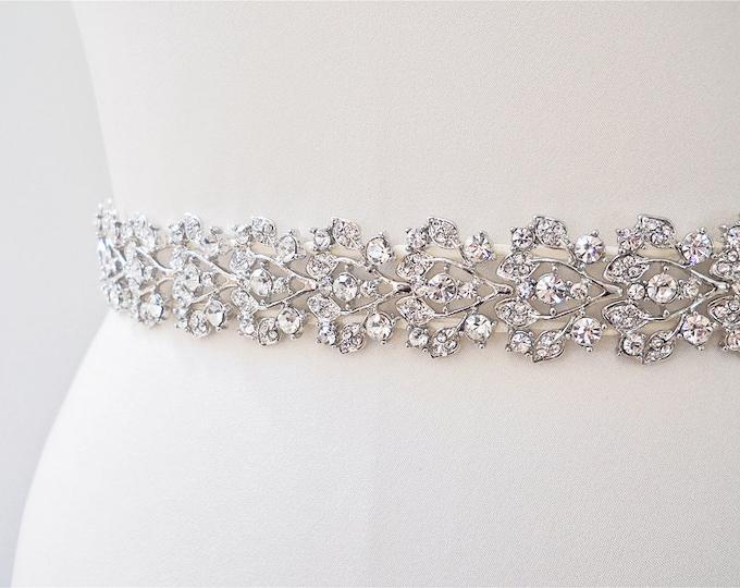 Bridal belt in gold or silver, Crystal bridal belt sash, Bridal waist sash, Sparkly bridal crystal belt, 1 inch crystal belt
