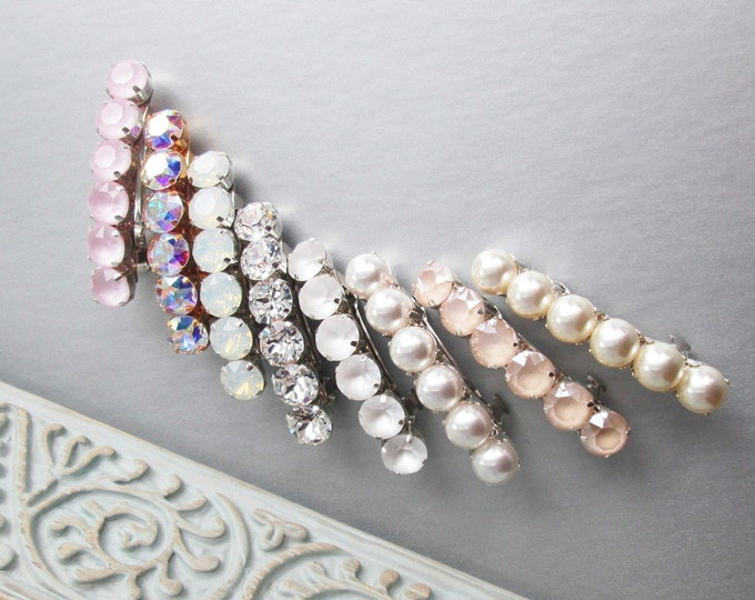 Mix and match Swarovski barrettes, Swarovski crystal hair barrette clip , Rhinestone pearl wedding hair clip in gold silver, Bridal barrette