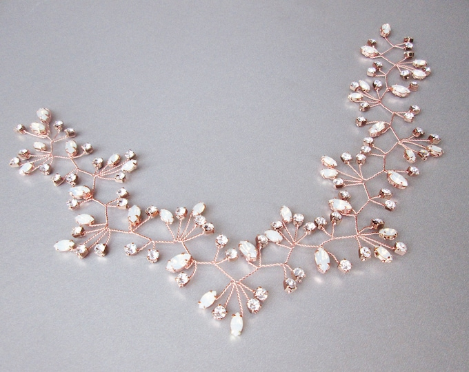 Rose gold crystal hair vine, Crystal Headband, Headpiece hair vine in opal clear crystal mix, Bridal headband, Wedding headpiece