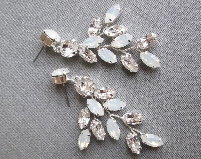 Opal Bridal crystal earrings, Swarovski opal earrings, Leaf branch earrings, Wedding crystal drop earrings, Chandelier earrings dangling