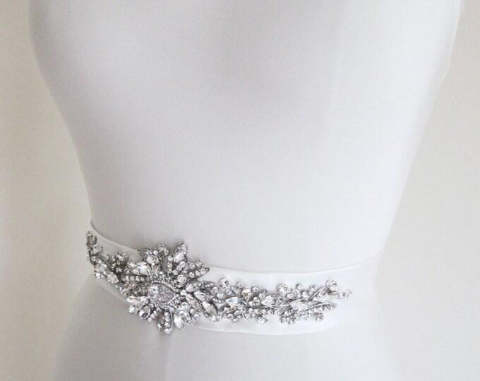 Bridal sash belt, Wedding belt, Rhinestone beaded sash, Crystal sash, Waist sash in silk Duchess satin, bridal crystal belt sash