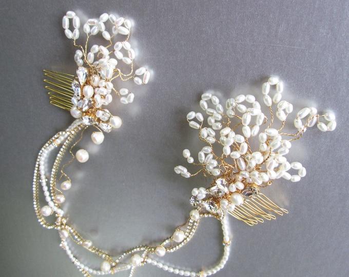 Bridal pearl hair comb, Bridal comb, Swarovski crystal and pearl bridal combs with swags, Wedding hair combs, Swag chain bridal comb