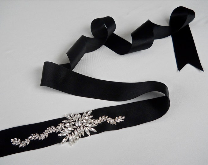 Swarovski crystal bridal sash belt, Wedding belt sash, Black bridal sash, Rhinestone bridal belt, Waist sash belt with crystals, more colors