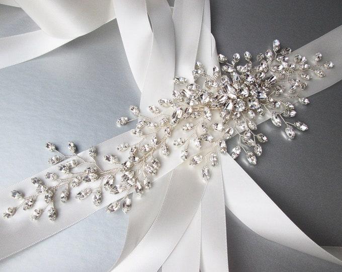 Ready to ship - Couture Swarovski belt, Crystal belt sash in silver, Wide Wedding belt, Floral Waist sash in antique white, light ivory