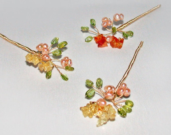 Tiny blossoming gemstone branches hair pins, Bridal gold hair pins, Gemstone pins, Pearl and gem hair pins, Wedding hair pins, set of 3