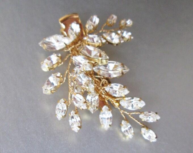 Bridal hair pin clip, Swarovski crystal hair clip, Wedding crystal pin, Leaf crystal alligator hair clip, Silver or gold rhinestone pin