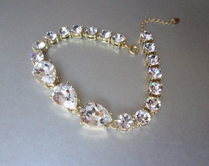 Swarovski crystal bridal bracelet, Swarovski bracelet, Wedding crystal rhinestone bracelet in gold, Sparkly bridal bracelet, Gold bracelet