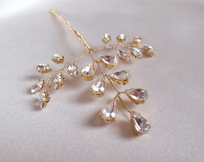 Bridal hair pin, Crystal leaf hair pin in gold or silver, Swarovski crystal gold hair pin, Crystal hair pin in gold, silver or rose gold