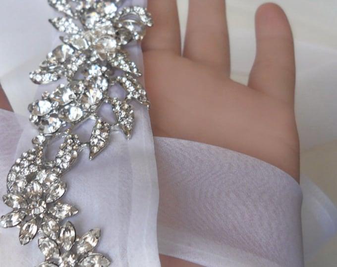 Bridal sash belt, Hand made silk organza and crystal sash, Wedding belt, Crystal belt sash, Bridal crystal sash, Rhinestone belt