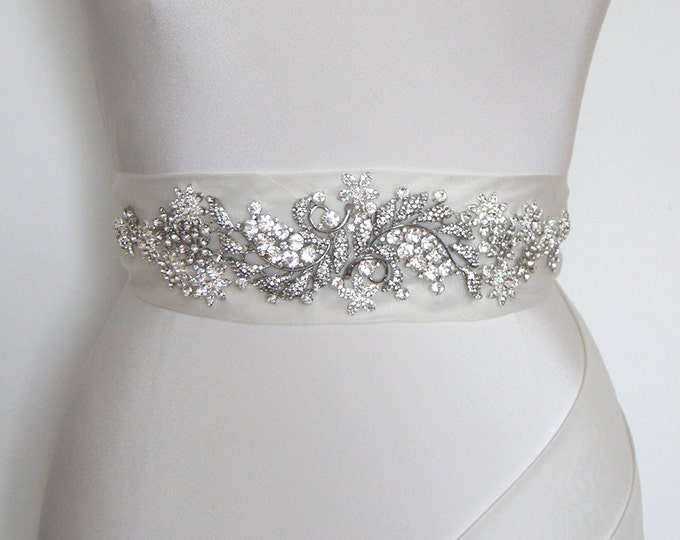 Bridal crystal belt sash in silk organza or Duchess satin, Bridal belt sash, Crystal sash, Beaded Crystal Rhinestone Sash, Wedding Sash