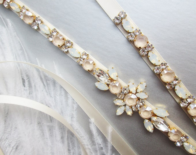 Pastel Champagne opal Bridal belt sash, Crystal belt ivory cream, Wedding belt, Swarovski Opal bridal belt, Rhinestone Swarovski sash