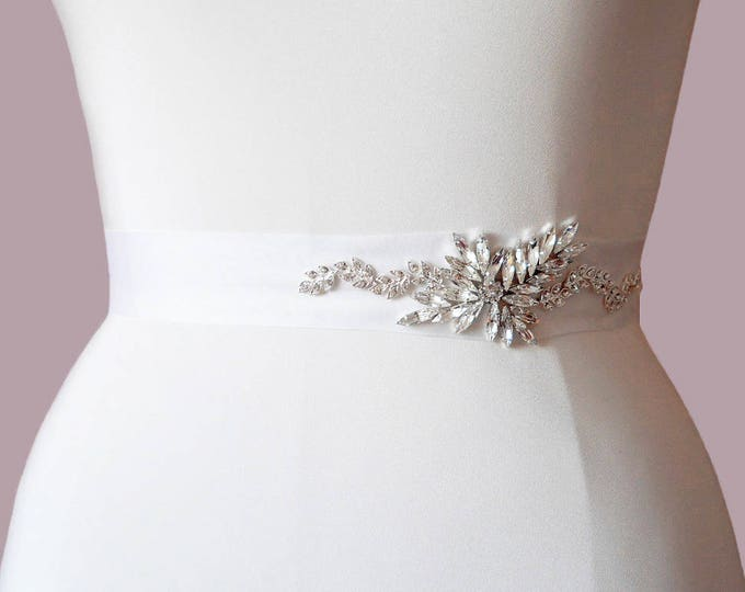 Swarovski bridal belt sash, Bride Flower Girl Bridesmaids, Beaded rhinestone bridal sash belt, Wedding belt sah, As seen in Ebony