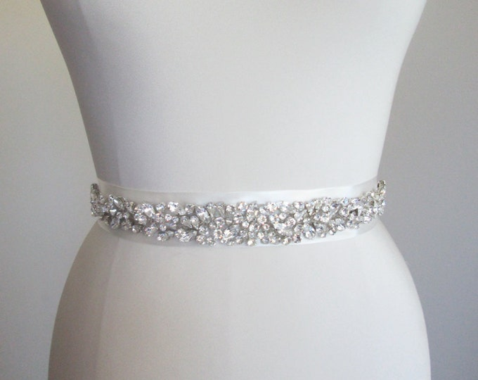 Bridal belt sash, Swarovski crystal belt, Crystal sash, Wedding Sash, Swarovski belt sash, Ribbon sash, Rhinestone belt