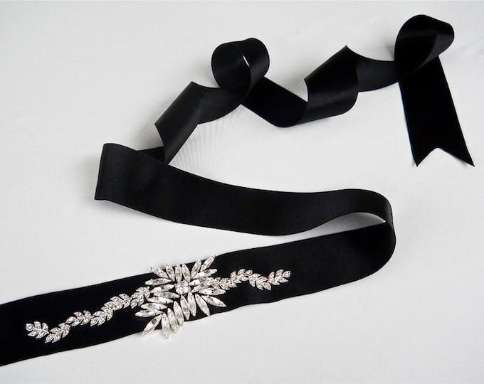 Swarovski crystal bridal sash belt, Wedding belt sash, Black bridal sash, Rhinestone bridal belt, Waist sash belt with crystals, more colors