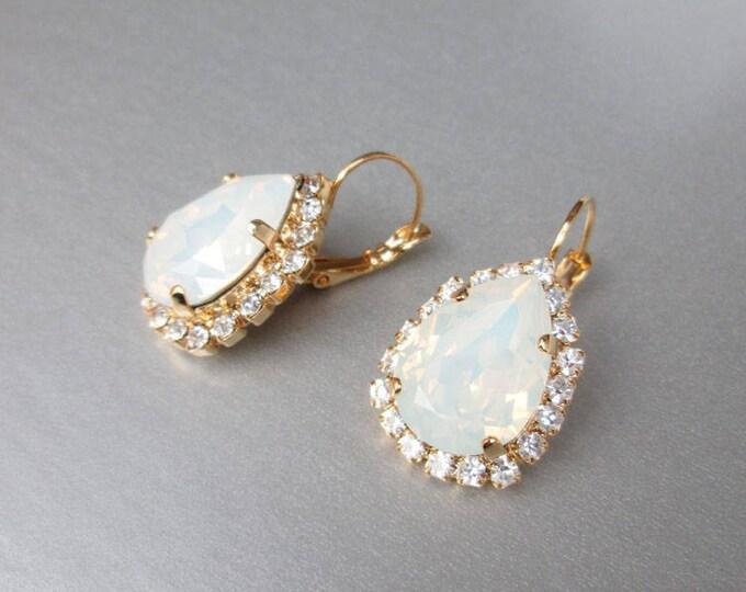 Bridal opal earrings, Swarovski crystal white opal bridal earrings, Drop earrings, White opal earrings in gold, silver, rose gold, Wedding