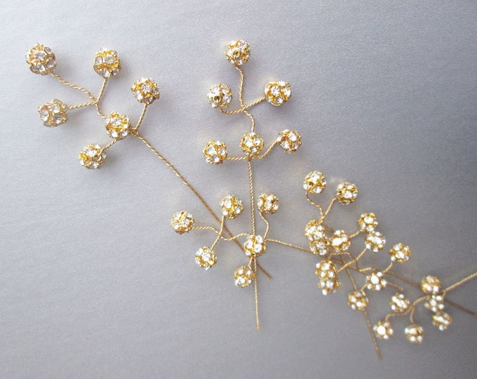 Dainty Bridal crystal hair pins - Gold and crystal hairpins - includes 7 pieces, rhinestone bridal hair pins, Dainty crystal wedding pins