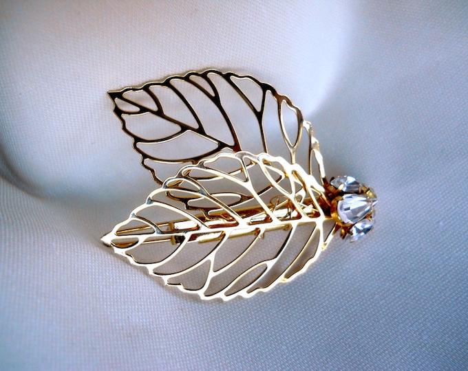Swarovski crystal hair clip bobby pin, Crystal clip hair pin, Leaf hair clip, Bride Bridesmaids Flowergirl hair clip, Bridal hairclip