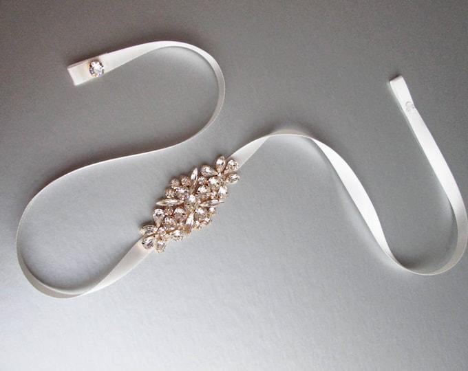 Bridal belt with clasp closure, Fitted bridal belt, Skinny bridal crystal belt, Wedding belt , Rhinestone bridal belt, Swarovski belt