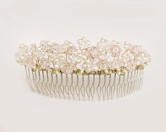 Pearl and rose quartz bridal comb, Bridal hair comb, Wedding comb, Swarovski crystal comb, Gemstone bridal hair comb, Pink bridal comb