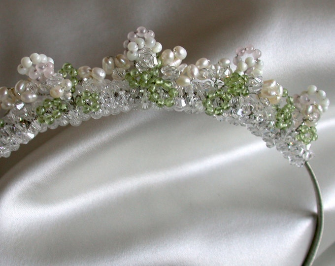 Rock candy tiara headband in silver, Bridal crystal and pearl tiara headband, Crystal bridal headband, Swarovski crystal headband tiara