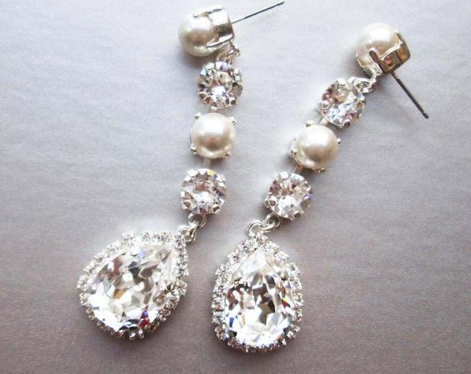 Bridal crystal earrings, Swarovski crystal and pearl wedding drop earrings, Long earrings, Linear earrings in gold, rose gold or silver