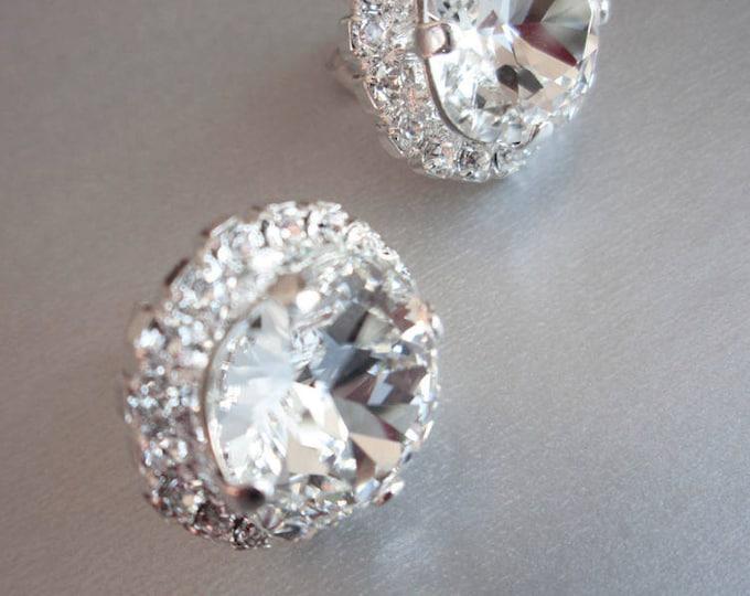 Bridal crystal earrings, Swarovski crystal bridal stud earrings, Swarovski earrings, Bridal rhinestone earrings in gold, silver, rose gold