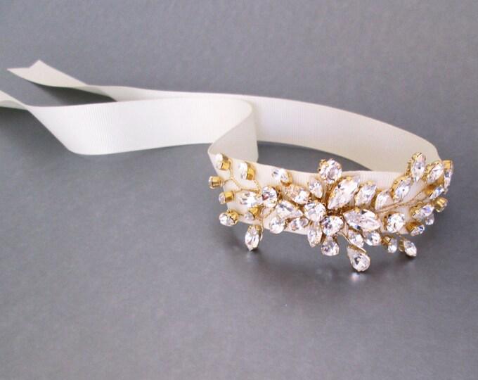 Swarovski crystal bridal bracelet, Bridal crystal bracelet, Wedding bracelet, Crystal rhinestone bracelet in rose gold, silver or gold