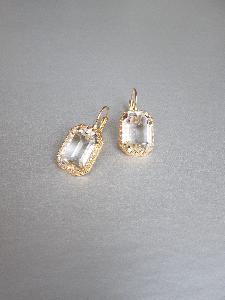 b263596fe Transparent Swarovski crystal bridal earrings, Emerald cut drop ...