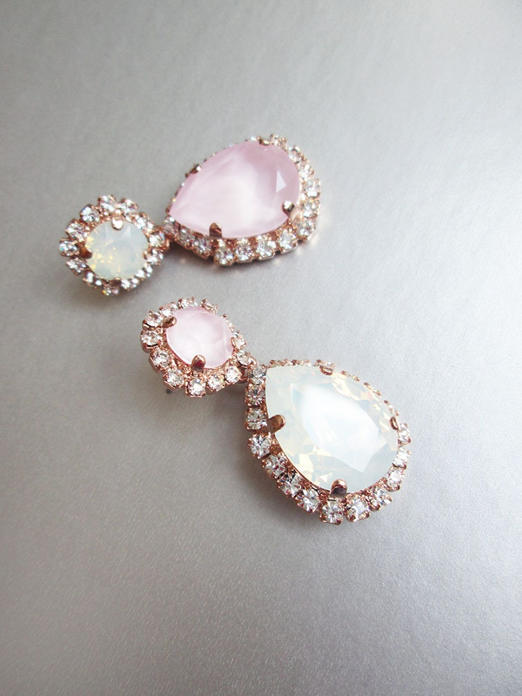 76b743dcc4a6e1 Pastel pink Bridal crystal earrings, White opal Swarovski wedding ...