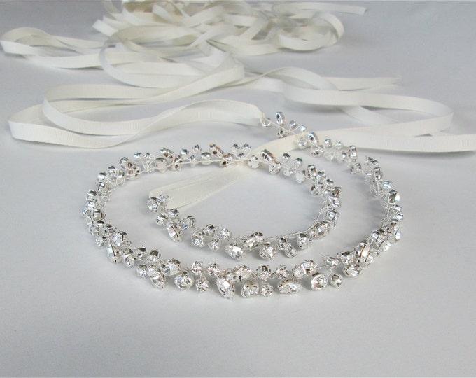 Skinny bridal belt sash, Crystal wedding belt, Petite crystal belt in gold or silver